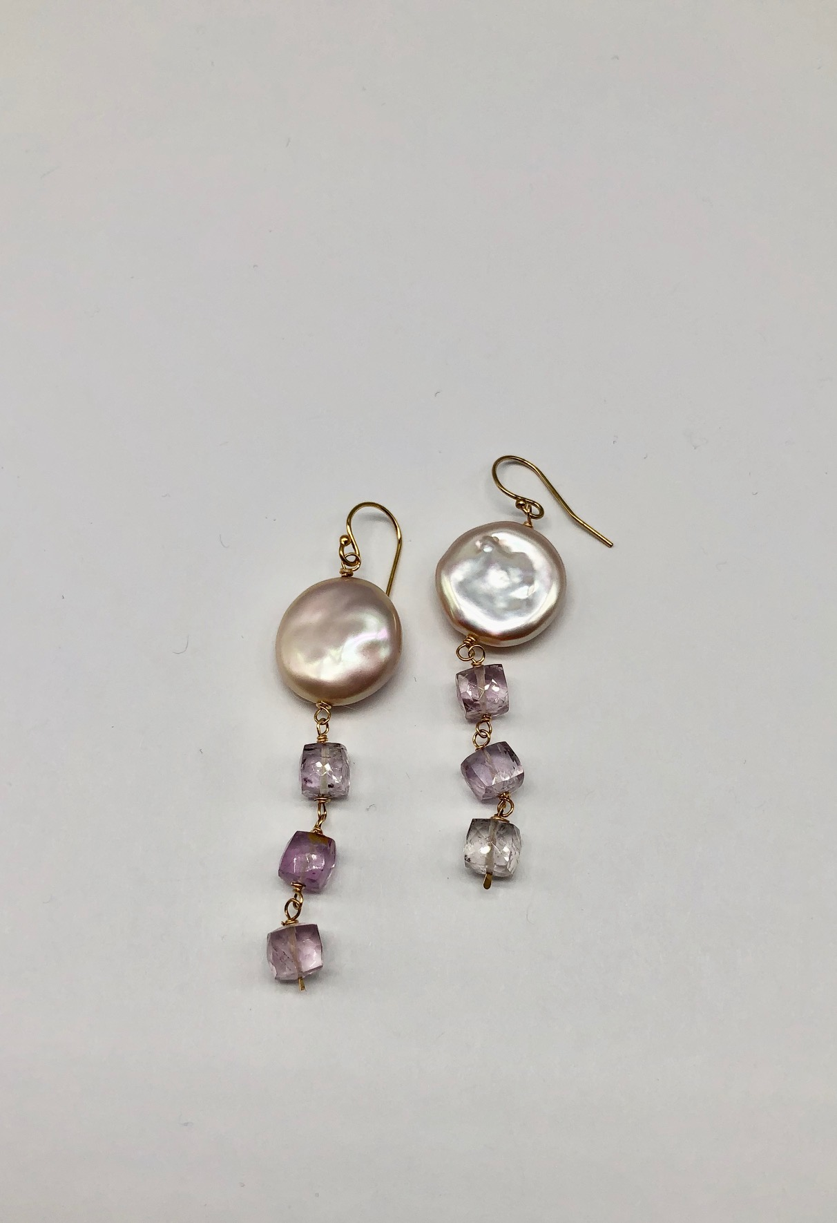 Coin Pearl and Pink Amethyst Earrings