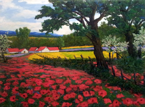 Trees With Red Poppies by  Andres  Morillo - Masterpiece Online