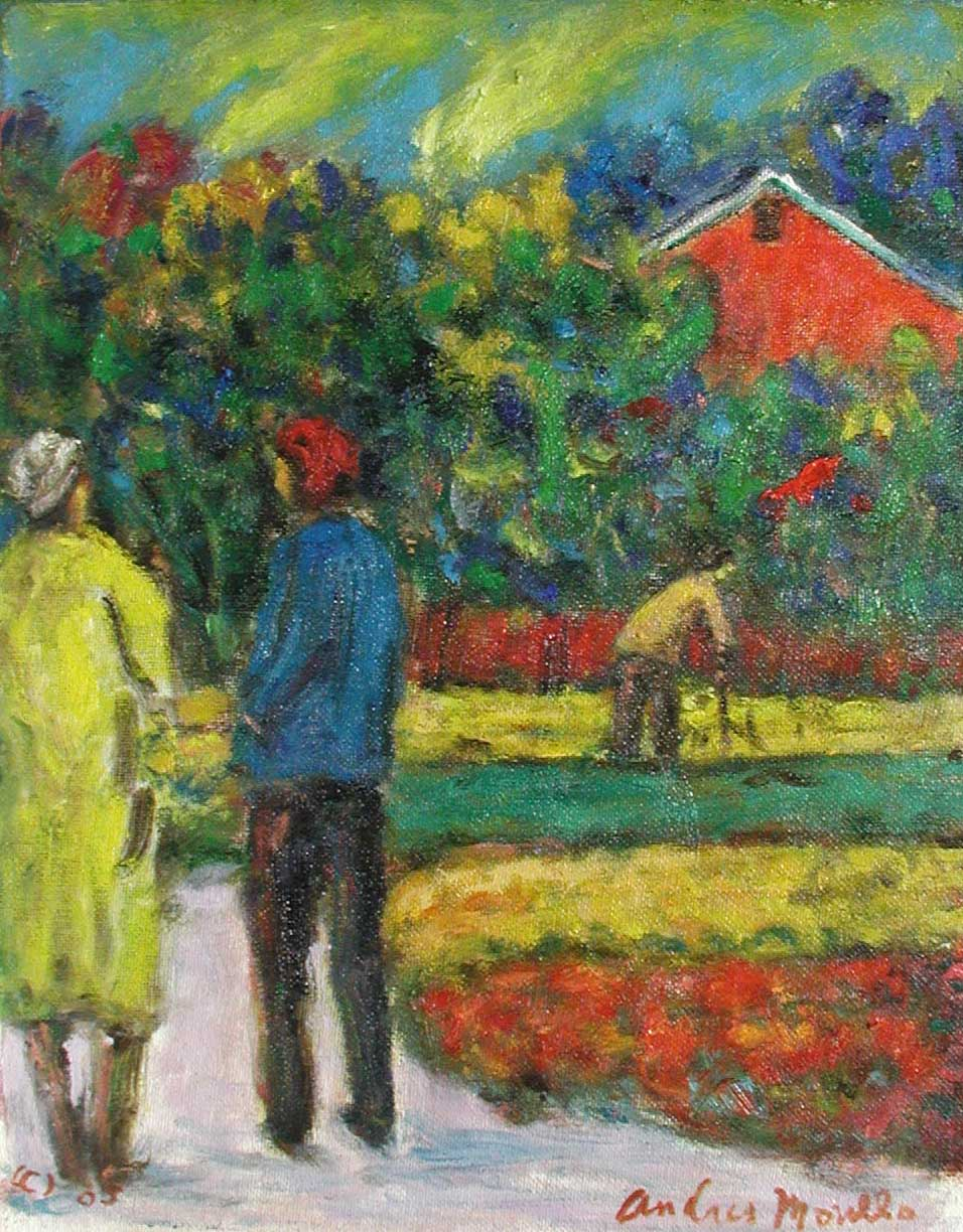 Two Figures Walking i... by  Andres  Morillo - Masterpiece Online