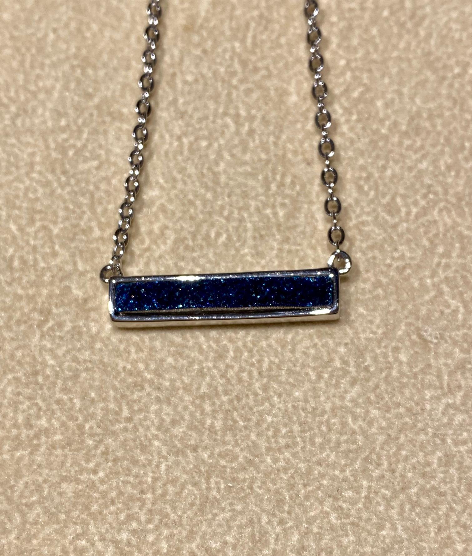 Blue Druzy in Silver Necklace 18