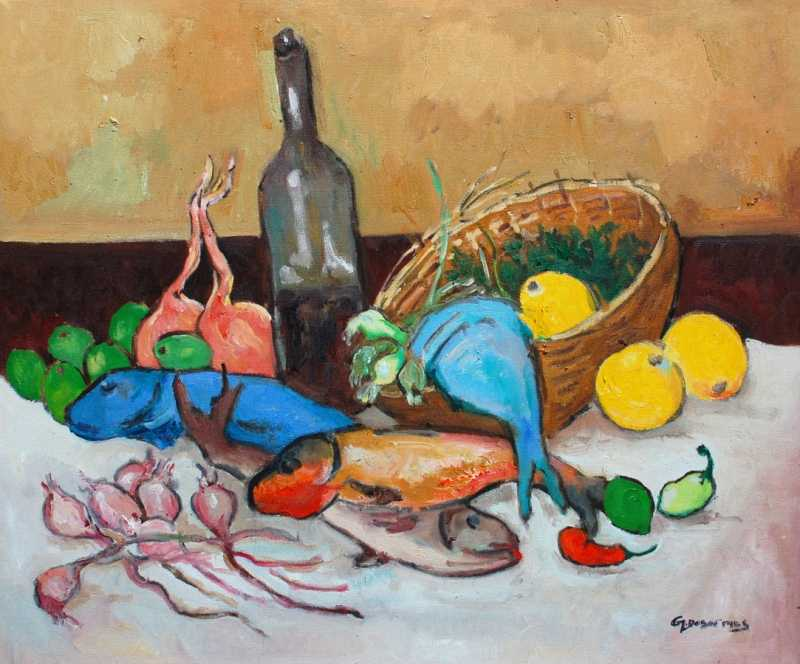 Still life with fish by  Georges DESARMES - Masterpiece Online