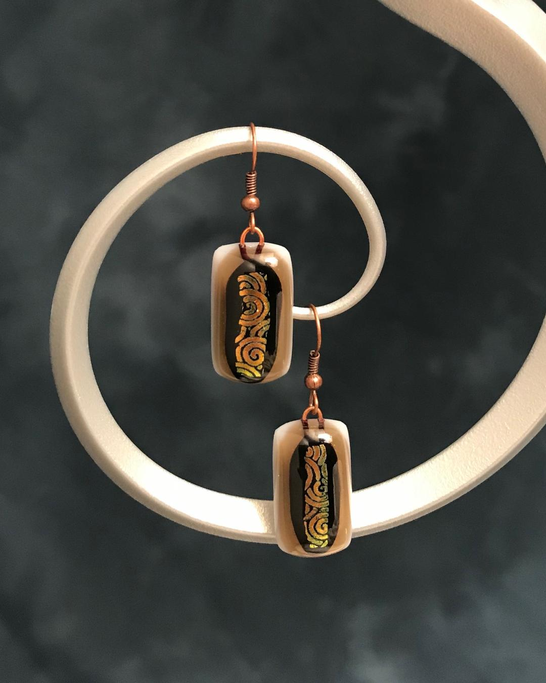 Fused Glass Matching Orange, Brown & Gold Earrings Bronze Plated Wires