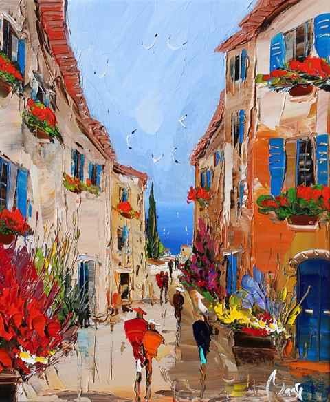 Village Stroll by  Louis  Magre - Masterpiece Online