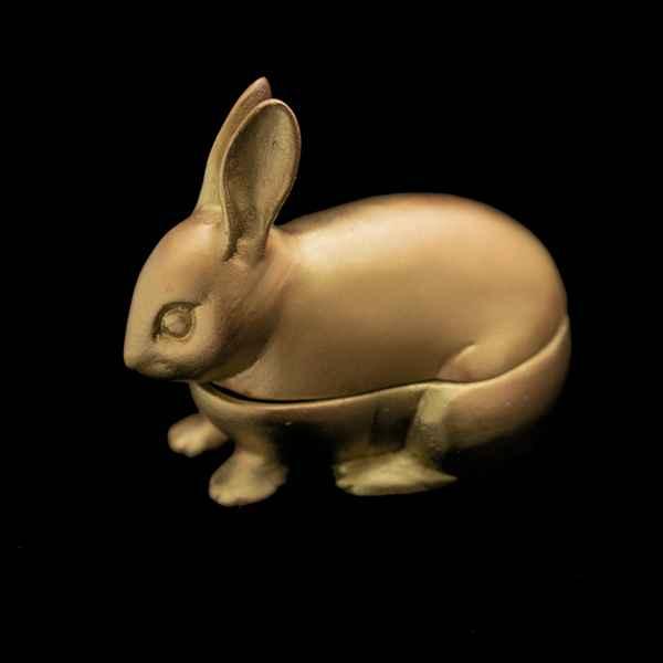 Hare Box, Antique Bronze