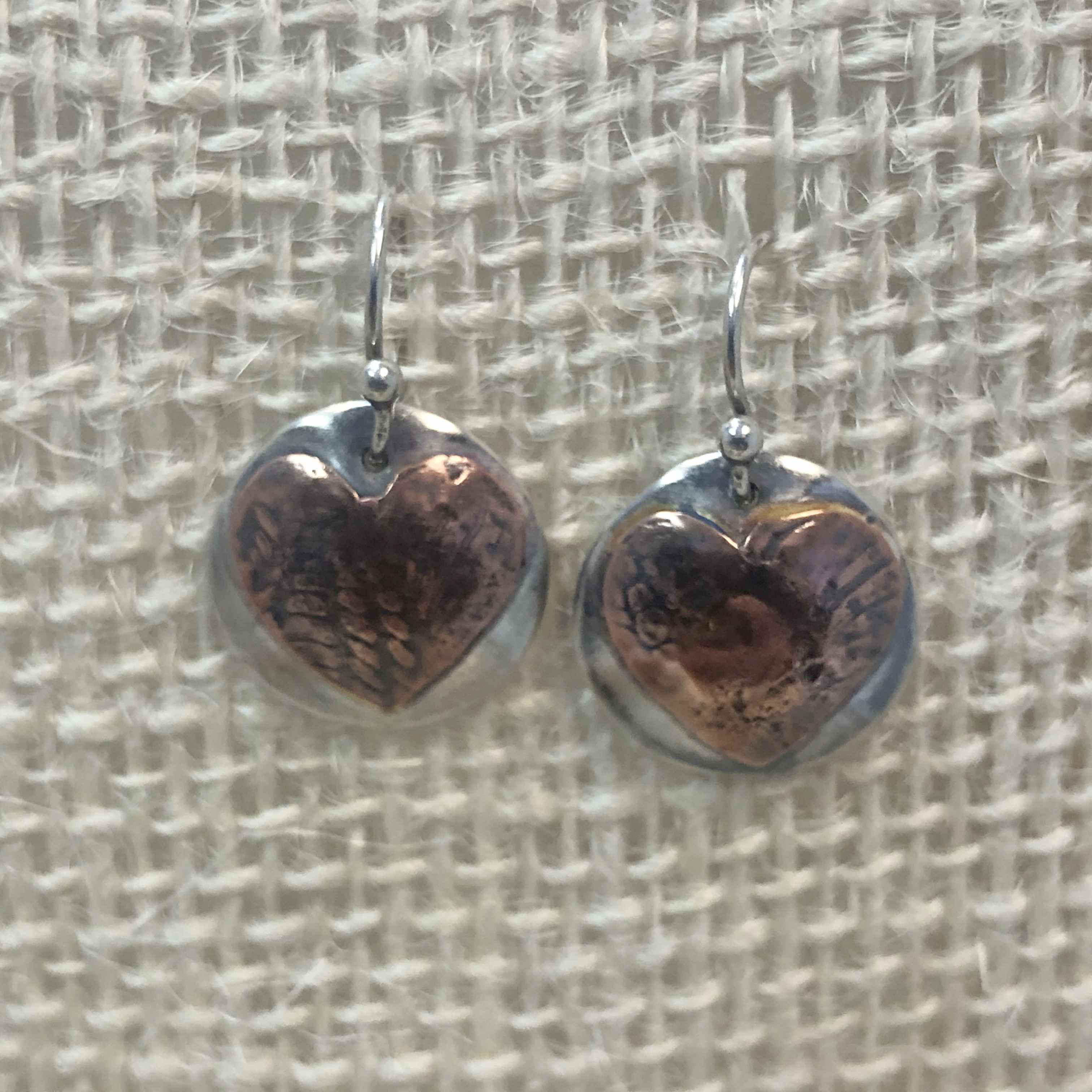 Round Sterling Disc with Copper Heart Earring
