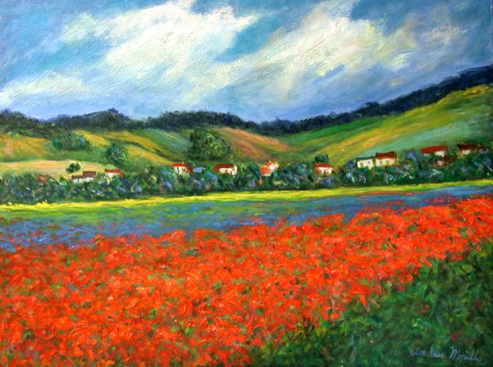 Red Poppies by the Hi... by  Andres  Morillo - Masterpiece Online