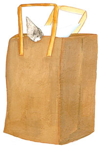 Cat In Bag I represented by  by  Barney Saltzberg