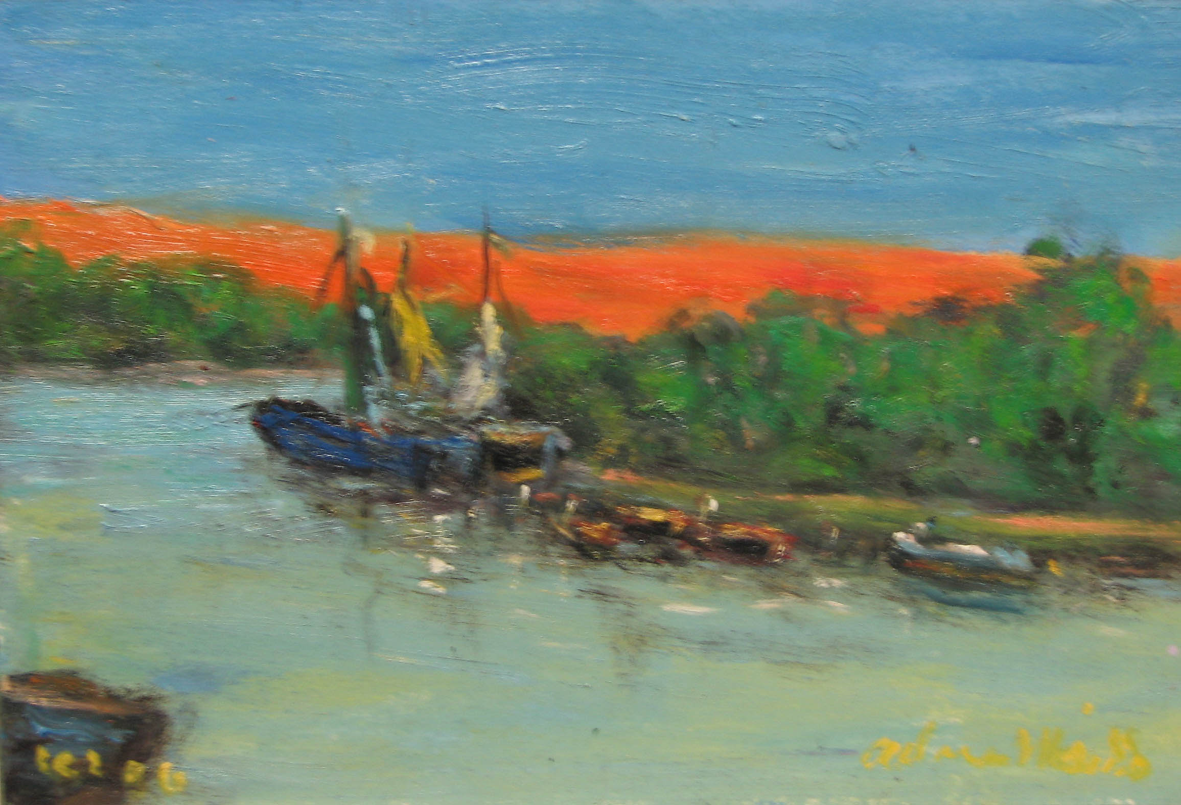 Boats by the Bank by  Andres  Morillo - Masterpiece Online