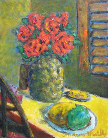 Table with Red Roses by  Andres  Morillo - Masterpiece Online