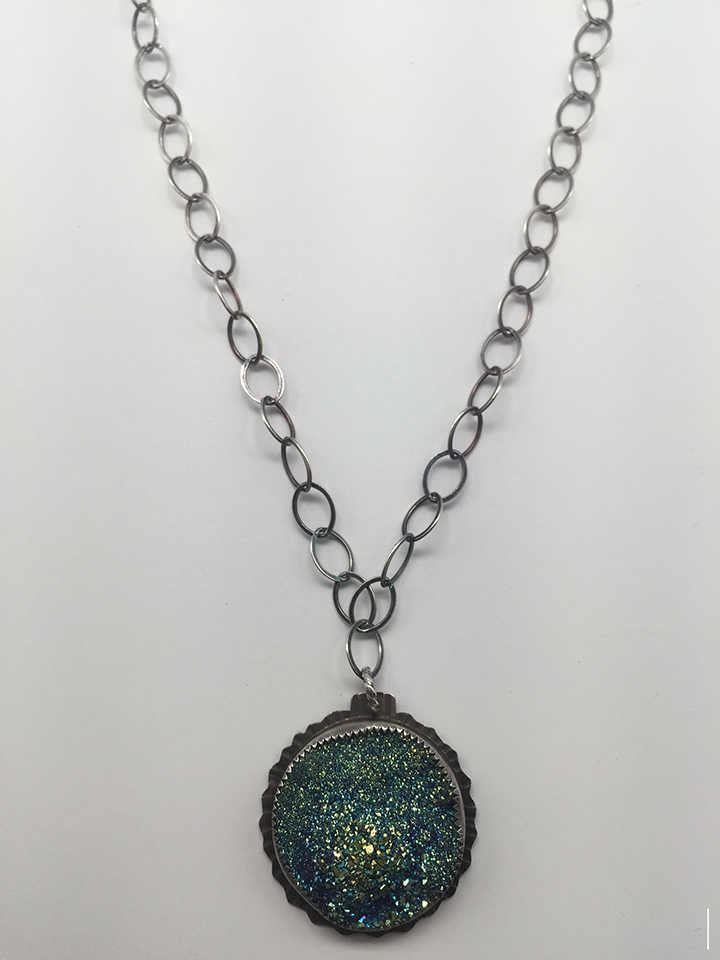 Plated Druzy Sterling Necklace