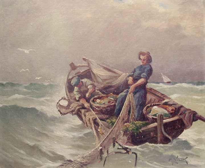 Pulling in the Nets by  Ernst  Nowak-Novak  - Masterpiece Online