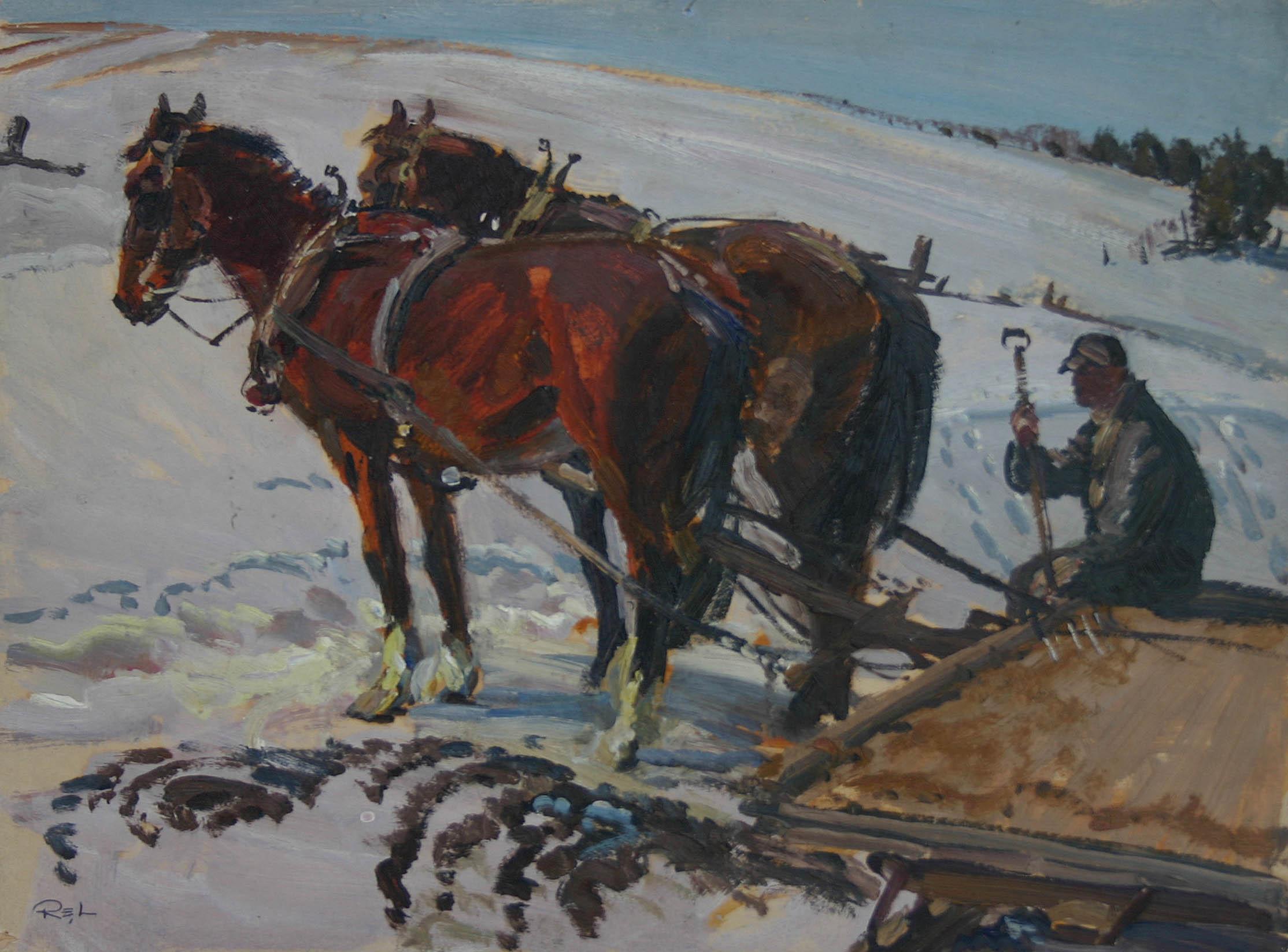 Team & Sleigh by  Robert Lougheed - Masterpiece Online