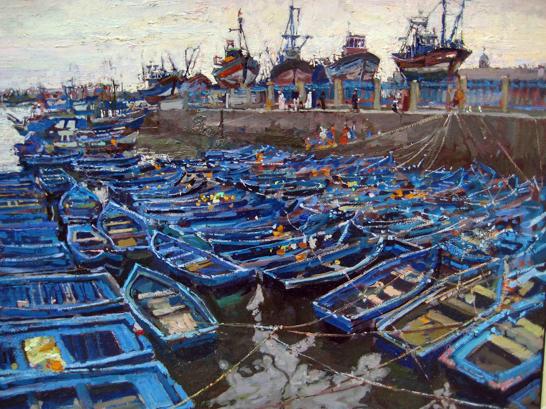 Blue Boats, Essaouira by  Daud Akhriev - Masterpiece Online