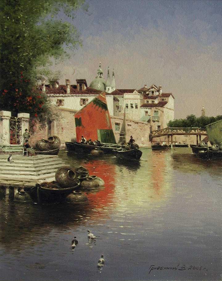 Canal Traders by  Vasily Gribennikov - Masterpiece Online