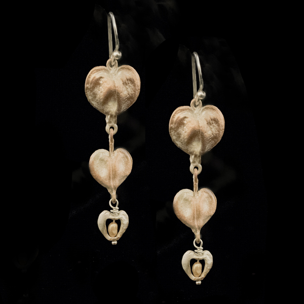 Bleeding Heart Drop Wire Earrings