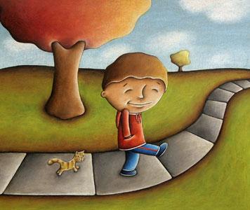 Cat Following Boy
