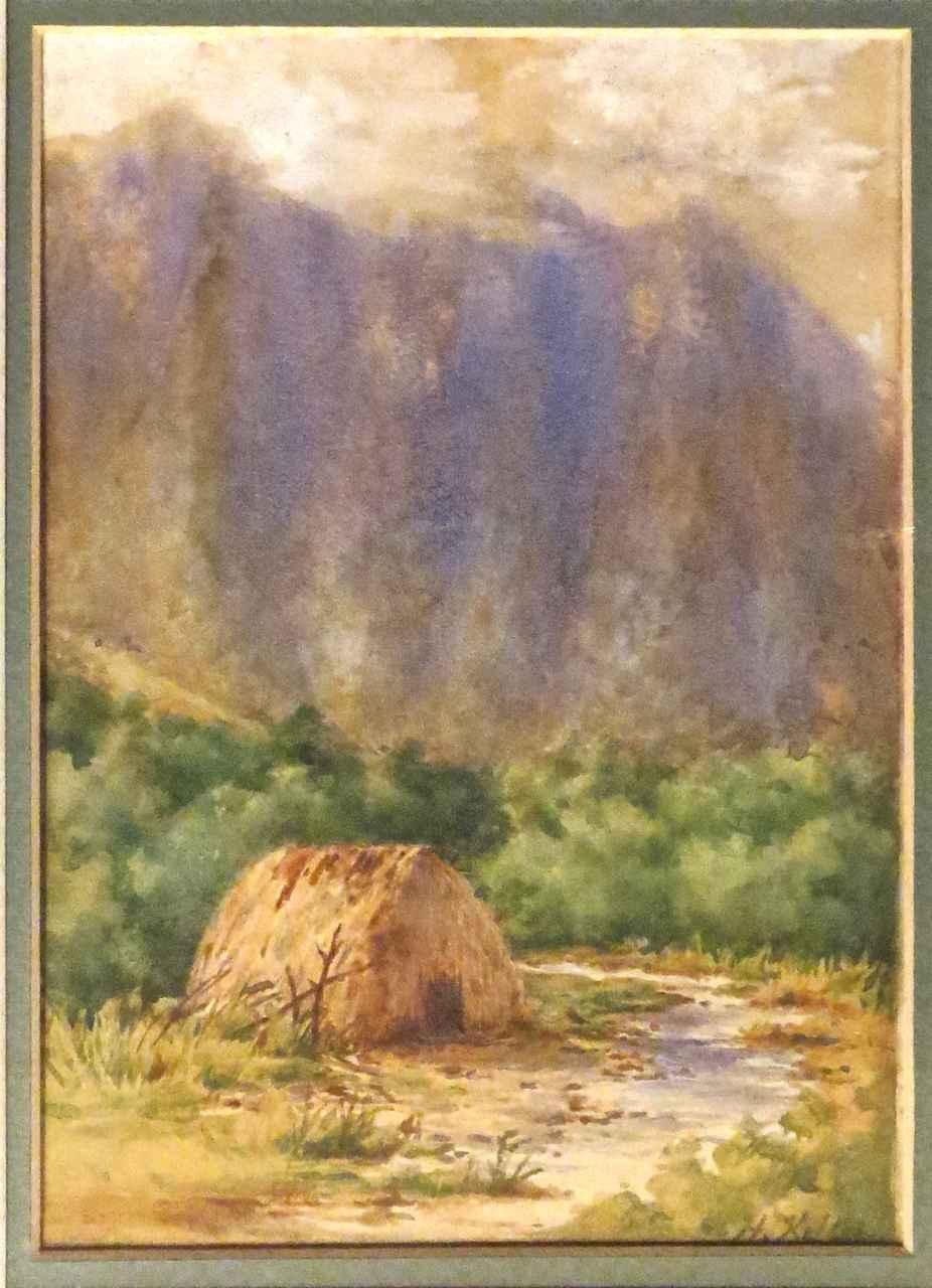 Windward Grass Shack by  Helen Whitney Kelley (1852-1910) - Masterpiece Online
