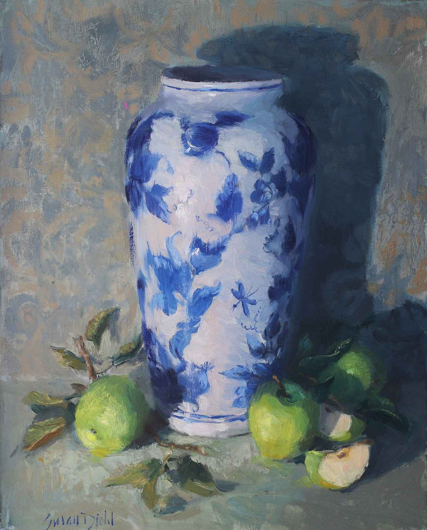 Green Apples with Vase