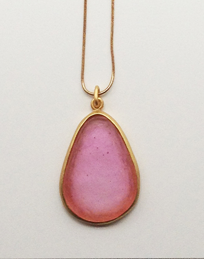Large Pear Shape Pendant in Pale Ruby