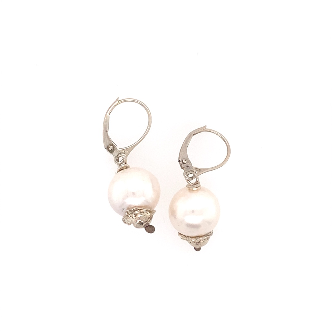 Large Round Freshwater Pearl Earrings in Sterling Silver