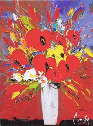 Poppies in White Vase  by  Louis  Magre