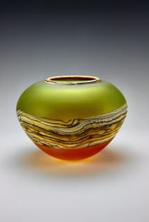 Open Bowl in Translucent Lime Tangerine