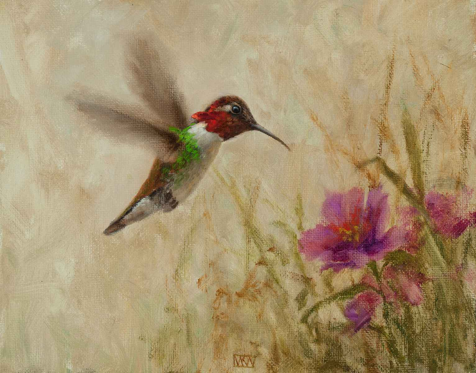 Anna's Hummingbird wi... by  Mary Kay  West  - Masterpiece Online