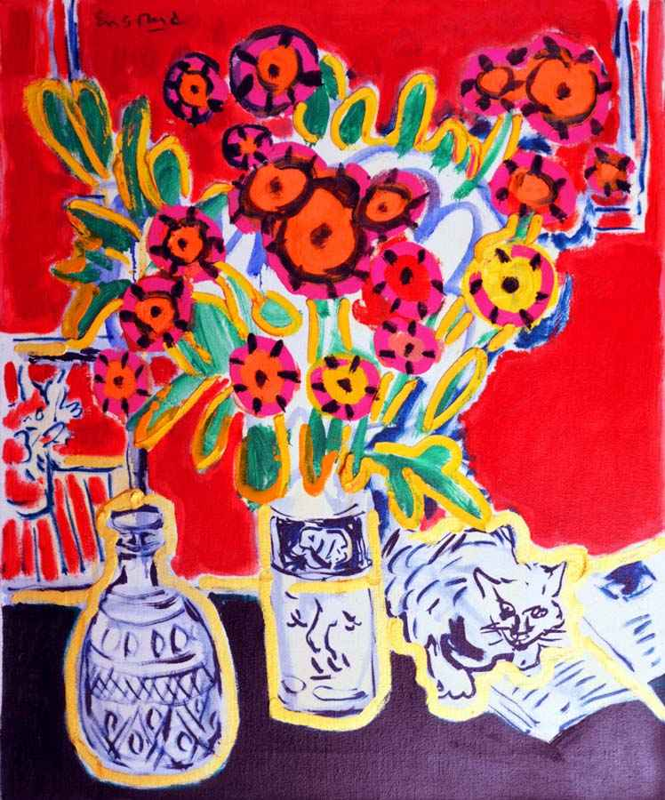 Happy Cat with Bouquet by  Wayne Ensrud - Masterpiece Online
