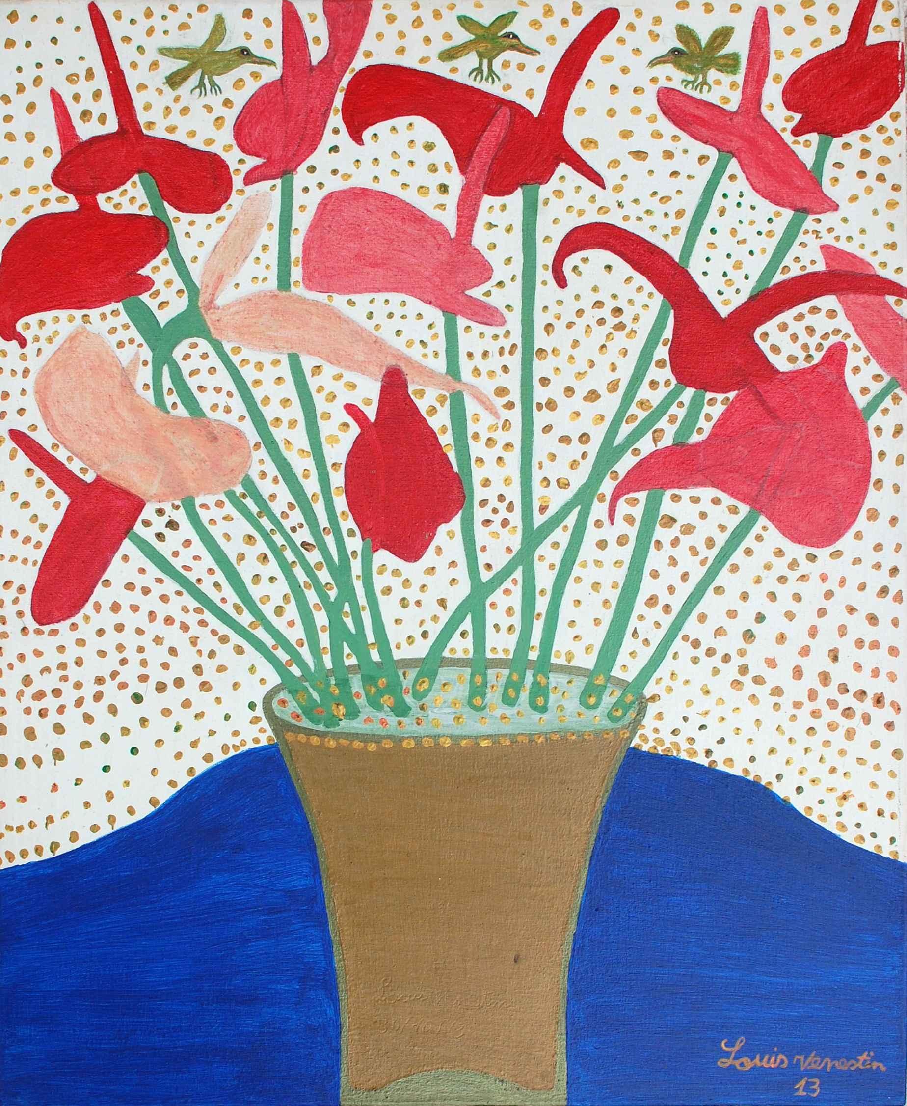 Pink Anthuriums by  Louis VENESTIN - Masterpiece Online