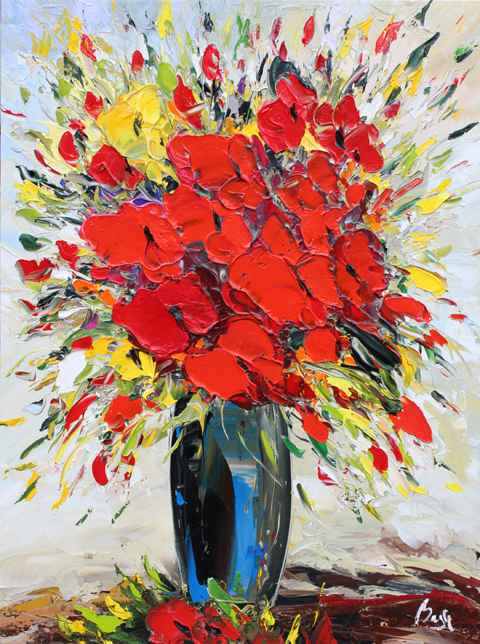 Red Poppies, Blue Vase  by  Louis  Magre