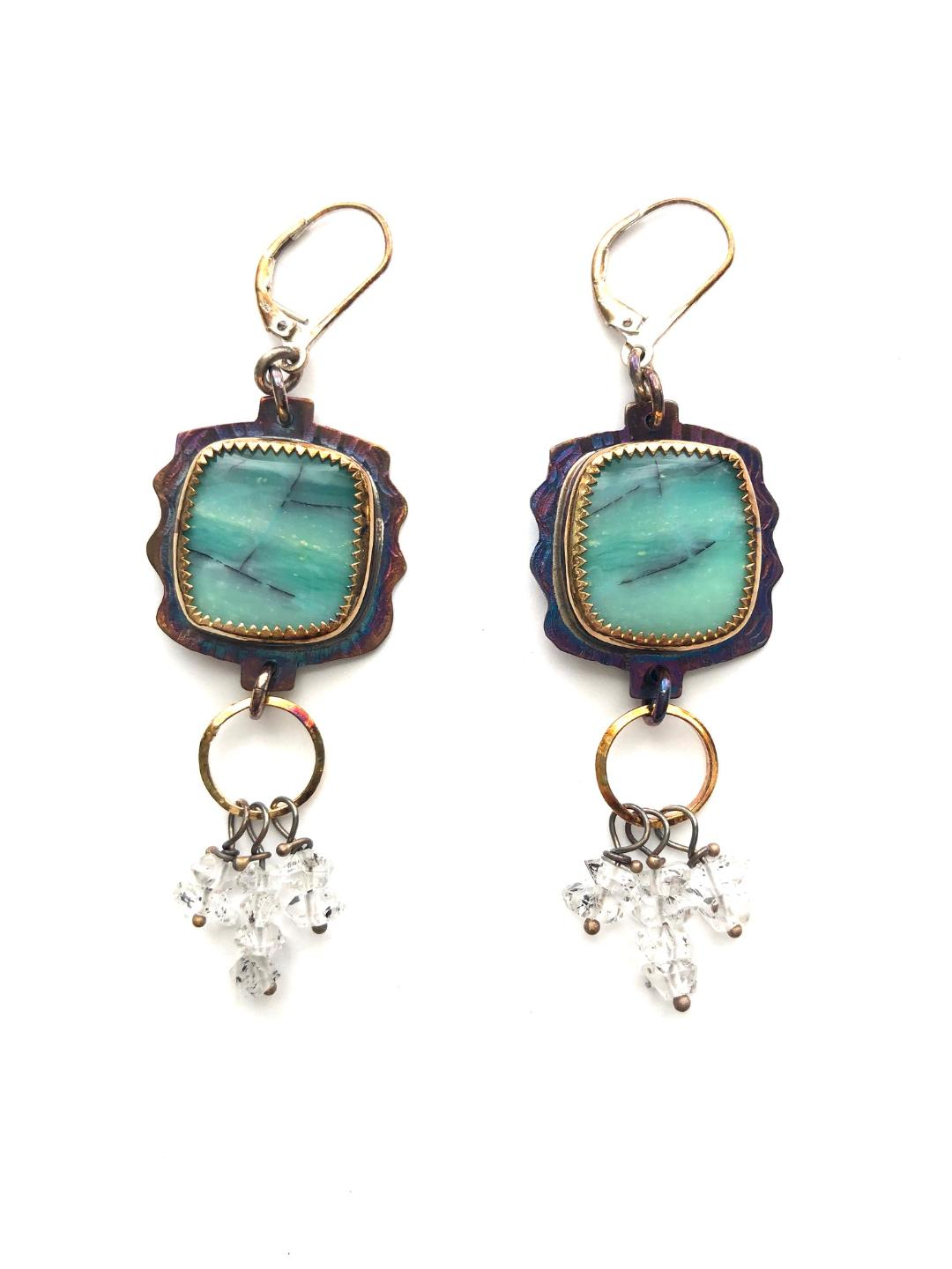 Blue Opal Displaced Petrified Wood and Herkimer Diamond Crystals Earrings in Sterling Silver