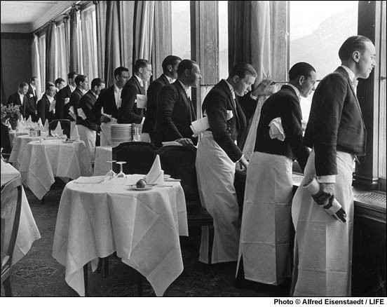 Waiters Watching Sonj... by  Alfred Eisenstaedt - Masterpiece Online