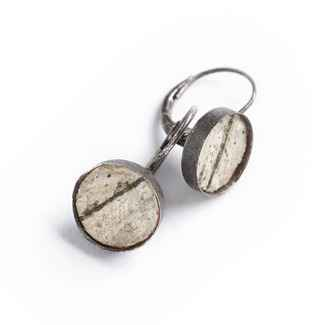 Classic Earrings Birch Bark and Oxidized Sterling, Lever Back, 3/8