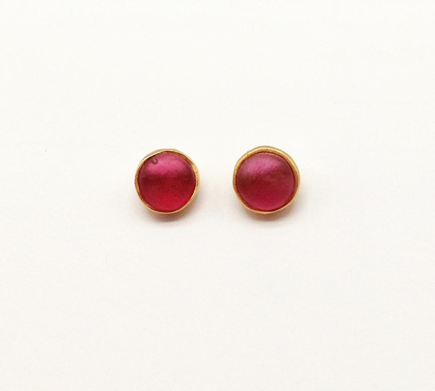 Bubble Post Earrings in Pale Ruby