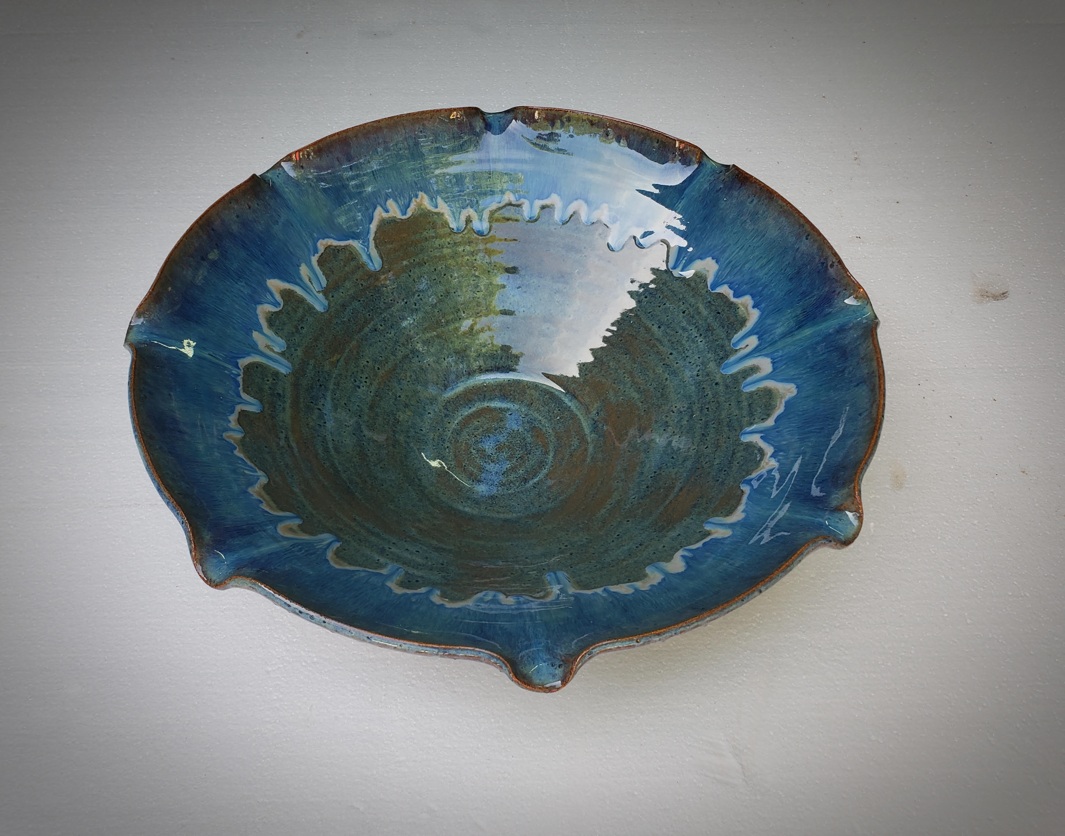 Blue Fluted Serving Bowl #2