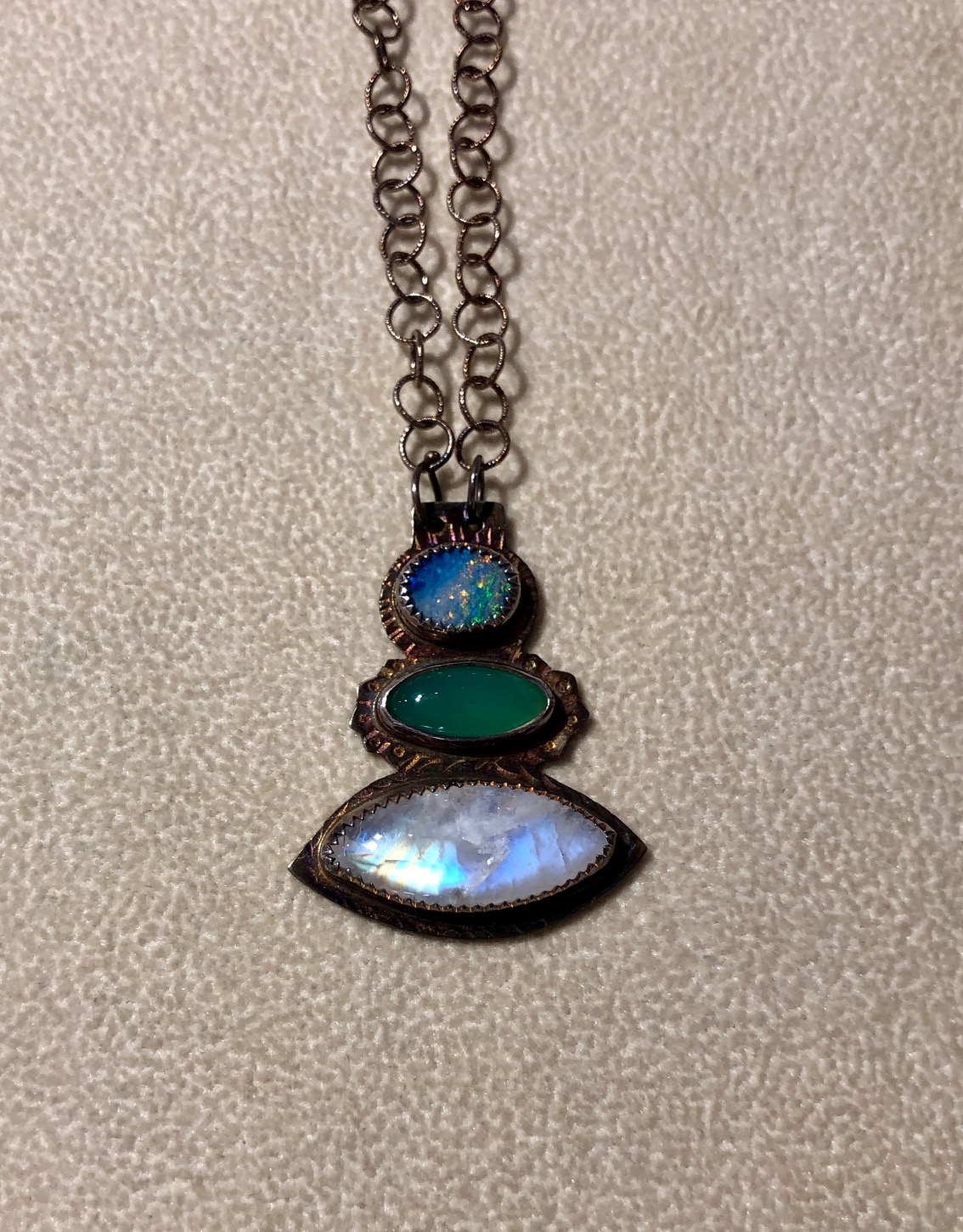 Rainbow Moonstone and Opal Necklace