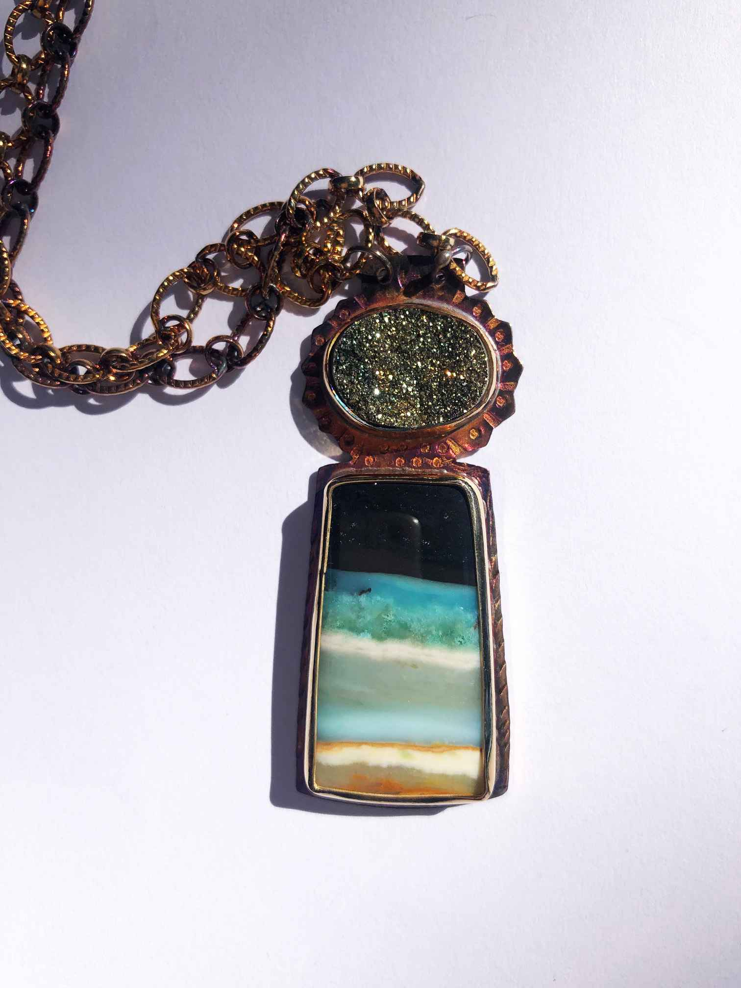Sterling, Pyrite Druzy and Blue Opal Displaced Petrified Wood Necklace