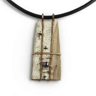 Classic Necklace Birch Bark and Hematite 20