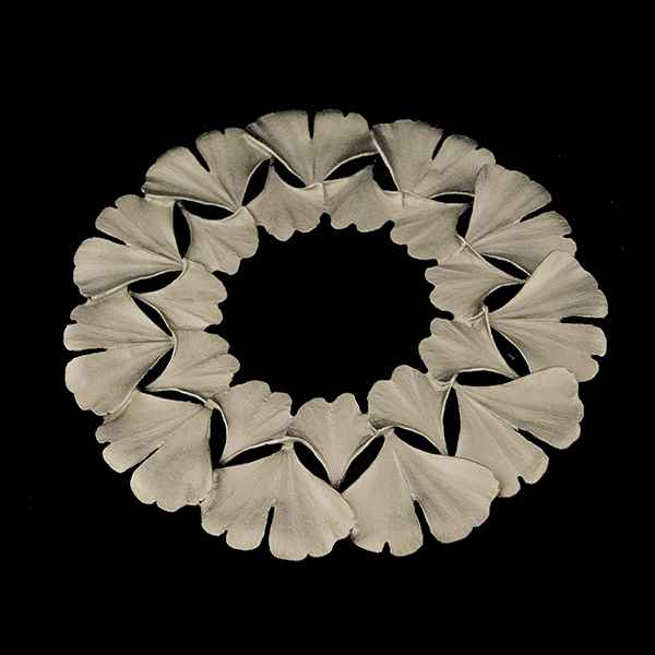 Ginkgo Trivet, Antique Pewter