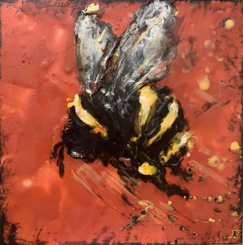 Bee on Brilliant Red by  Kathy Bradshaw - Masterpiece Online