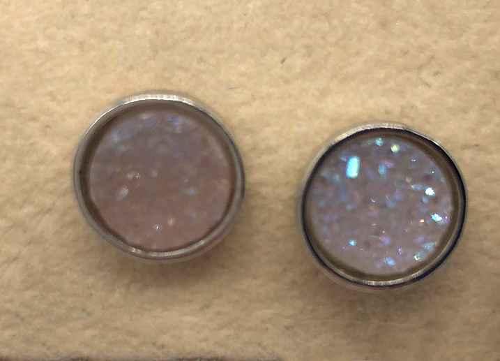 8mm Silver Druzy set in Silver Earrings