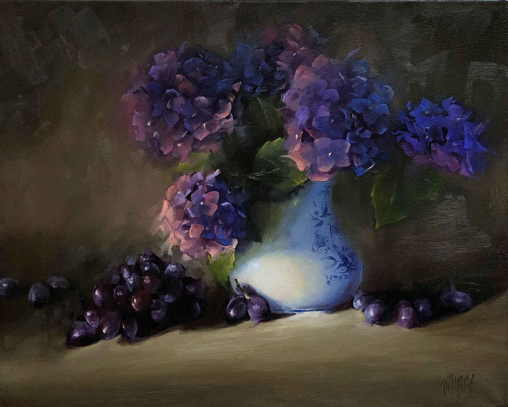 Hydrangeas in Moody B... by  Lori Twiggs - Masterpiece Online
