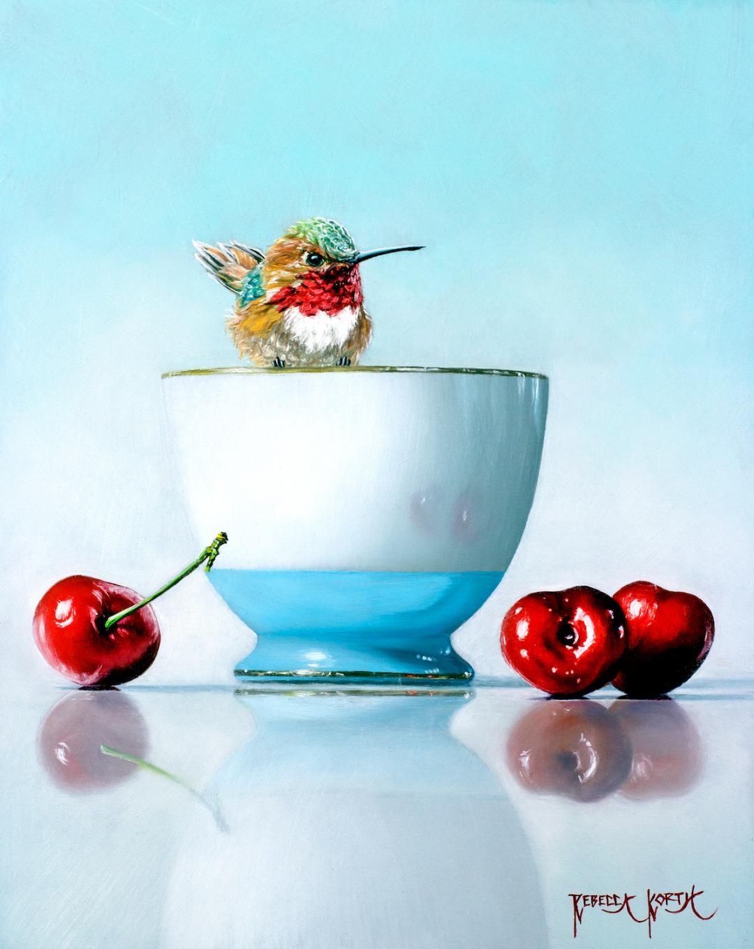 Hummingbird & Cherries