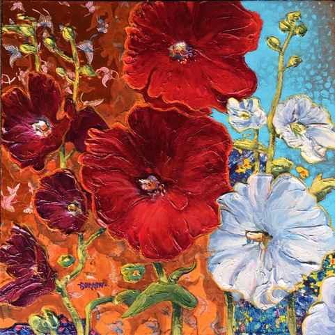 Holly Hocks & Butterf... by Mr John Burrow - Masterpiece Online