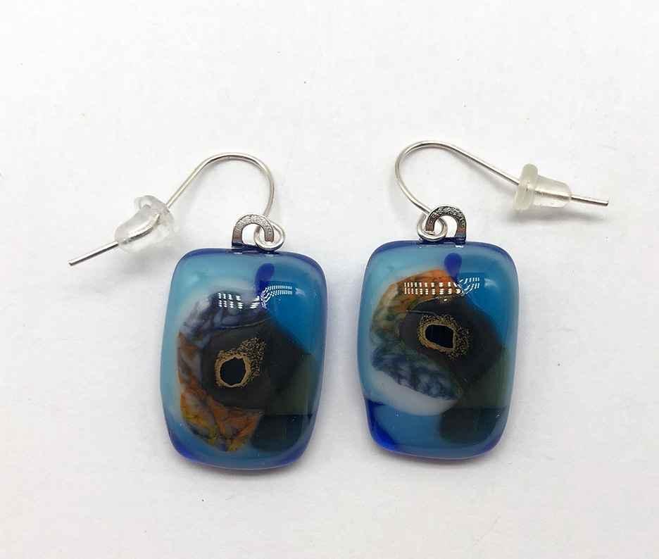 Aqua/Teal/Orange Fused Glass Earrings