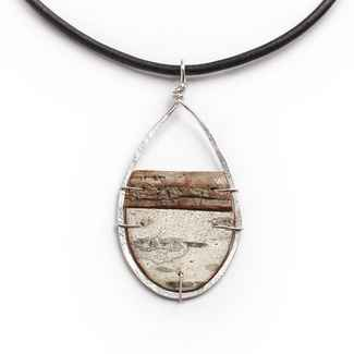 Nordic Necklace Birch Bark and Sterling on 17