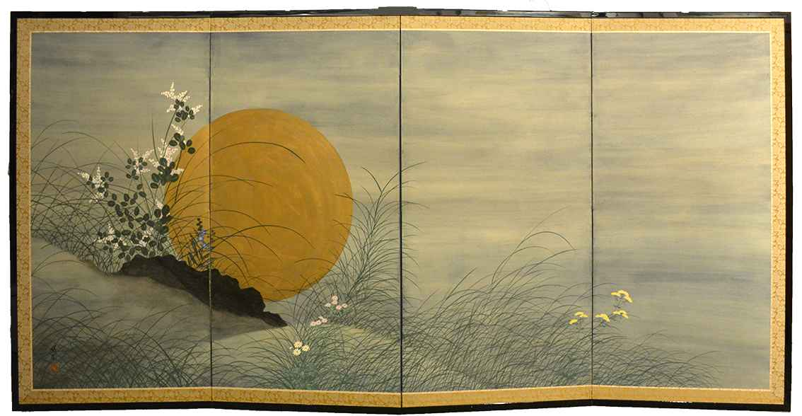 Moon and Autumn Grass... by  Oh-en Tanaka - Masterpiece Online