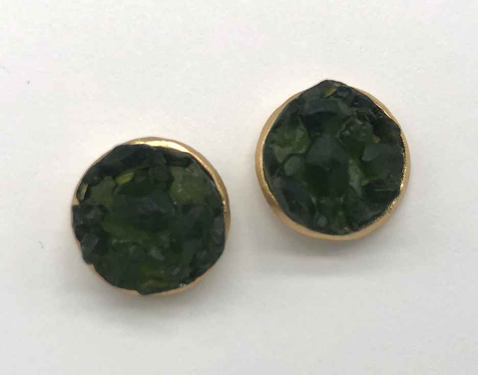 Crystal Medium Round Post Earrings 1/2