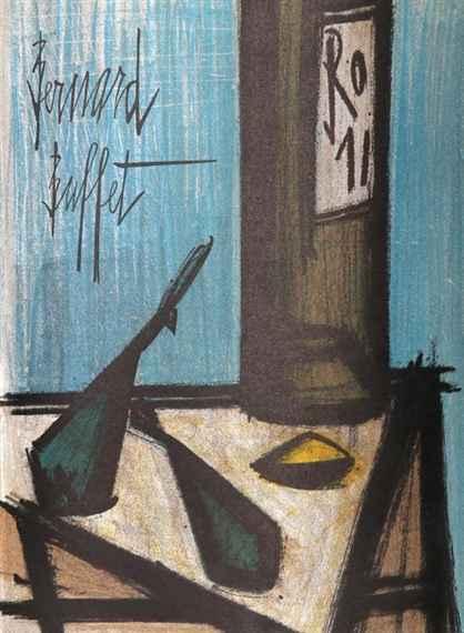 Still Life With Bottle by  Bernard Buffet - Masterpiece Online