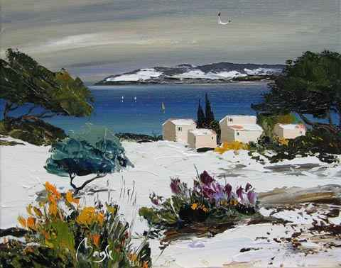 Snow on the Bay by  Louis  Magre - Masterpiece Online